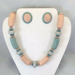 Jewelry - Vintage Wood Beaded Chunky Necklace Earrings 1980s